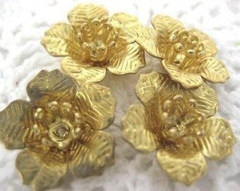 FF-600-24R  8pcs Raw Brass Flower Bead, NICKEL FREE