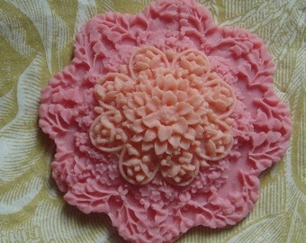 454-183-CA  1pcs  Big Flowers Cabochon - Pink
