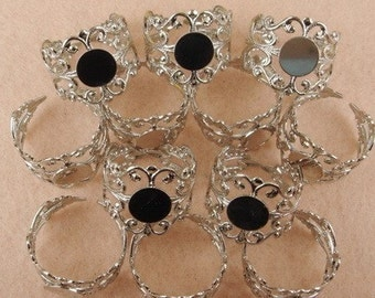 RR-700-7SI   10 Pcs  Adjustable Silver Plated Ring w/8mm Pad, NICKEL FREE