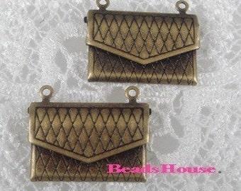 Wholesale LK-100-45-1Ant 10pcs Pretty Antique Brass Envelope Locket,Nickel Free.