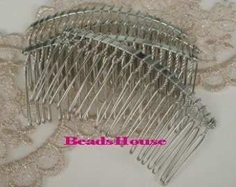 HC-25SI  4pcs Silver Plated Hair Comb w/20Pin .NICKEL FREE