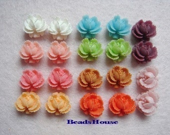 311-00-MX10-CA  20 Pcs  Mini Rose Cabochons - Mix Colour.