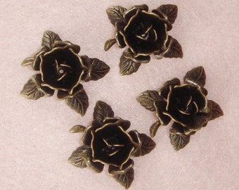 FF-600-40Ant  10pcs Antique Brass Rose, NICKEL FREE.