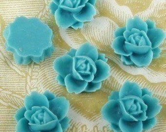 NEW 620-00-7466-CA  6 Pcs Beautiful Rose Cabochons - Misty Turquoise