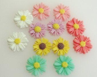 429-MIX-12-CA  12 Pcs Colourful  Mini SunFlower cabochons - 6 Colours