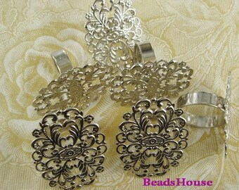 20% Off R-700-27SI   24pcs  Adjustable Silver Plated Filigree Ring, NICKEL FREE