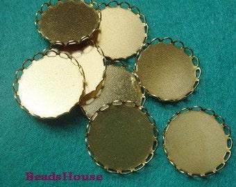 FF-68-RW  10pcs  Raw Brass Round Lace Edge Settings,20 mm