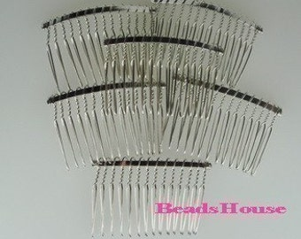 HC-01SI  6pcs Silver Plated Hair Comb w/14 Pin .NICKEL FREE