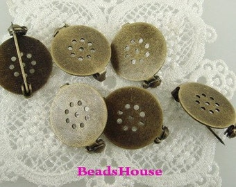 20%off : 6pcs Antique Brass w /9 Hole in 18mm Pad- Safty  Brooch