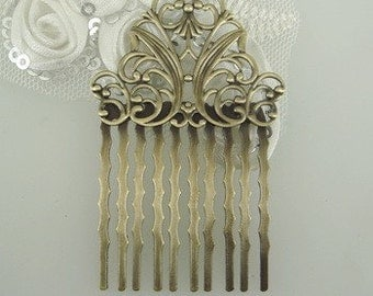 HC-42Ant 3pcs  Antique Brass Filigree hair combs, Nickel Free