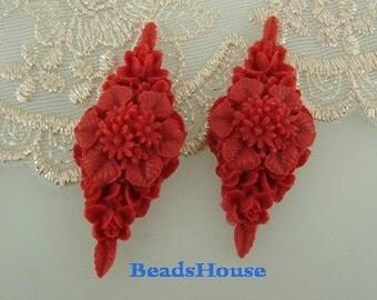 392-00-206-CA  2Pcs Rhombus Flower Cabochon -True Red