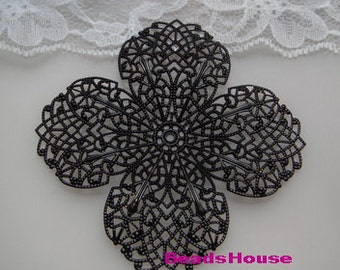 2 pcs Black Coating 4Petal Big Filigree ,Nickel Free