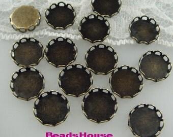 10 pcs - 10mm ,12mm  Antique Brass Lace Edge Settings,Nickel Free