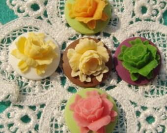 147-00-CA 10pcs Pretty Rose Cabochon Round 18 mm,Mix-Colour