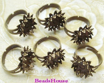 6pcs Adjustable Antique Brass Rings w/12mm Setting  ,Nickel Free