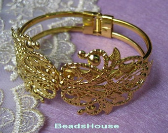 CB-05GD 1pcs Golden Tone Bracelet  W/ Filigree,Nickel Free