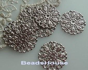 20 pcs - (25mm) Silver Pleatd Circle Filigree