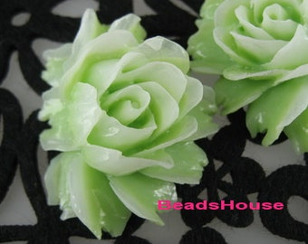 New: 2 pcs Pretty Cabbage Rose Cabochon,Green / White