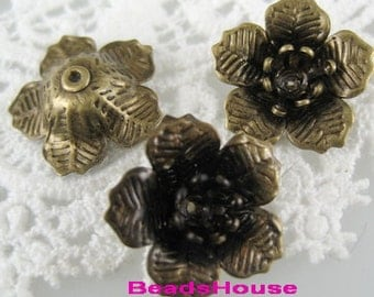 Wholesale FF-600-24Ant  24 pcs Raw Brass Flower Bead Cap, NICKEL FREE