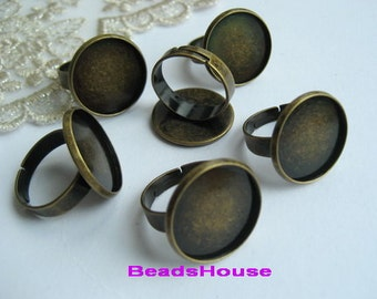 RR-700-31Ant  10pcs -18 mm Setting Adjustable Antique Brass Ring,Nickel Free