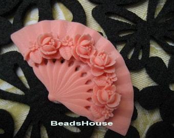 20%off - 2pcs Classic Rose On Fan Cabochon,32 x 60mm,Deep Pink