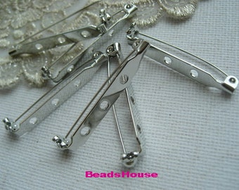 20 pcs High Quality Silver Plated Safety Pin Back Base,6 x 38 mm ,Nickel Free