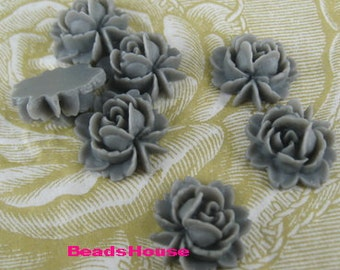 57-GY-CA  6pcs  Beautiful  Rose Cabochon -Grey