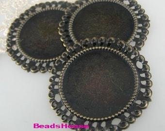 4pcs Antiqued  Bronze Vintage Brass Pendant /Charms,50mm (35mm setting)