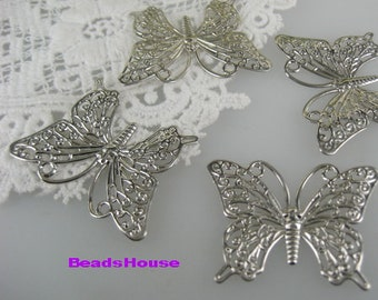 Sale 8pcs Silver Pleatd Butterfly Filigree (25 x 35 mm),Nickel Free
