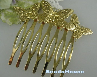 6pcs Golden Plated Butterfly Hair Combs, Nickel Free