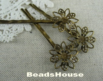 HC-22-Ani 24 pcs Antique Brass Round Flower Filigree Hair Clip,NICKEL FREE