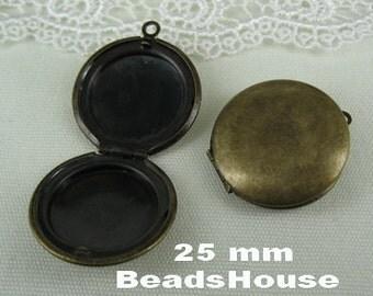 6pcs(25mm)Antique Bronze Brass Circle Locket Pendant /Charms,Nickel Free