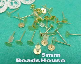 50pcs (5mm) Golden Plated Earring Posts with Rubber Stoper ,Nickel Free
