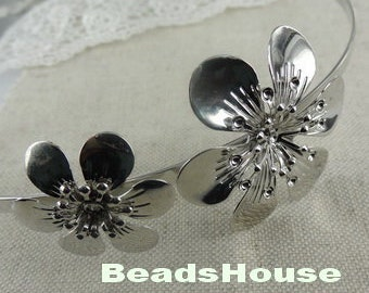 2 pcs (HB-03-FL)Silver Plated With Flower HeadBand,Nickel Free.