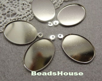 10pcs(18 x 25mm)  High Quality Silver Plated Cabochon Setting,Nickel Free