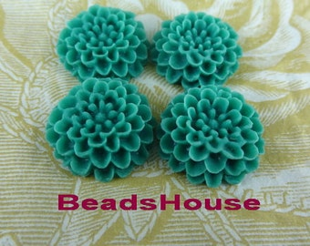 622-182-00-Ca 6pcs Pretty Chrysnthemum Cabochons,Blue Zircon