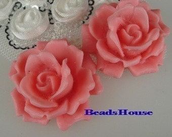 Sale - 10% OFF 468-02100-CA 2pcs Natural Shape Big Rose Cabochons-Fantasy Rose.