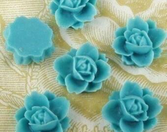 620-7466-CA  6pcs Beautiful Rose Cabochons-Misty Turquoise