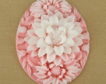 399-00-CA  2Pcs  Beautiful Oval Big Flower Cabochon Cameo - Pink.