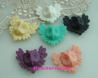 12pcs Pretty Owl Cabochon,Mix Colour