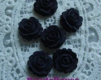 641-BK-CA   6pcs Beautiful Roses Cabochon -Black