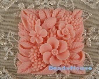 339-00-182-CA 2pcs Vintage Square Flower Cabochon-Salmon.