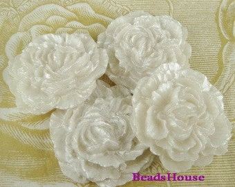 20%off - 801-00-CA  4pcs  Pretty Peony Ruffled Cabochon-Pearl White