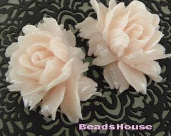 34-00-CA  2pcs Cabbage Rose Cabochon -Baby Pink.