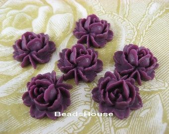 57-02-5870-CA  6 pcs  Beautiful Roses Cabochon - Amethyst