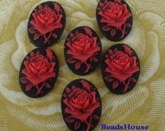 90s-00-RD-CA  6pcs (13x18mm) Beautiful Oval Rose Cameo - Red Rose.