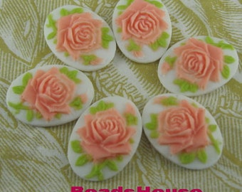 90s-DG-CA 6pcs(13x18 mm) Beautiful Oval Rose Cameo- Pink on White