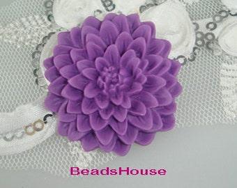 639-00-2584-CA  3 Pcs  Chrysanthemum Large Flower Cabochon,Purple