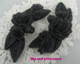 20%off   2Pcs Pretty Huge Rose Branch Cabochon,Black