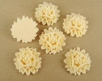 575-00-155-CA  6pcs Vintage Style Flower Cabochon-Almond.